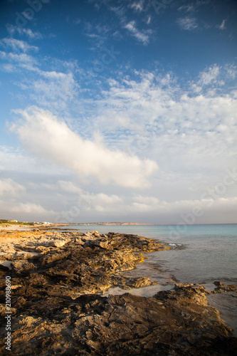 Deurstickers Mediterraans Europa Wild landscape of the Mediterranean coast with the sea and distant mountains