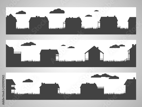 Set of three horizontal seamless illustration with country cottages. Black silhouettes.