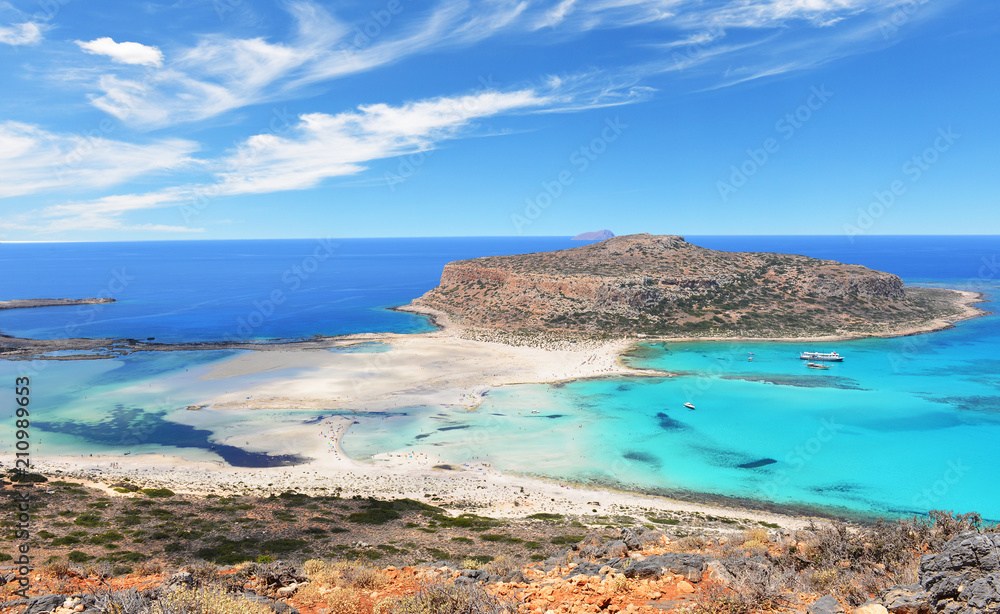 Famous Balos lagoon on Greece island Crete