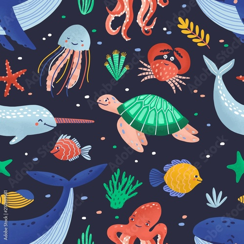 Seamless Pattern With Cute Funny Marine Animals Or Happy Underwater Creatures Living In Sea Ocean