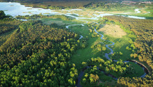 Aerial View From Drone- River In The Forest