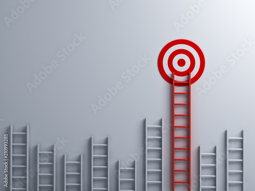 Photo Long red ladder to goal target business concept . 3D rendering.