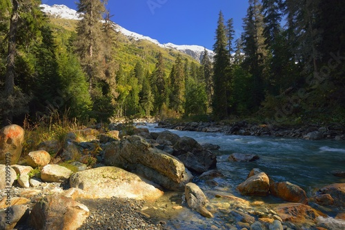 Poster Rivier River in mountains