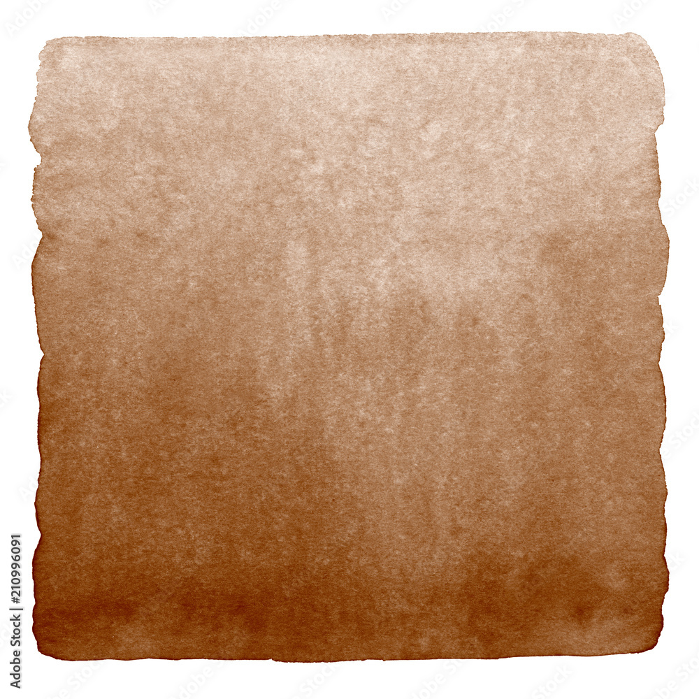 Fototapety, obrazy: Brown, coffee watercolor gradient background isolated on white. Chocolate, hazel color aquarelle background. Watercolour stains template with rounded edges. Square shape. Hand drawn painted texture.