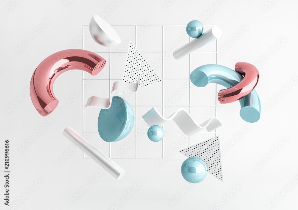 Fototapety, obrazy: 3d render realistic primitives composition. Flying shapes in motion isolated on white background. Abstract theme for trendy designs. Spheres, torus, tubes, cones in metallic blue and pink colors.