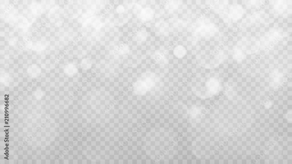Fototapeta Abstract transparent light background with bokeh effects in gray colors. Transparency only in vector format