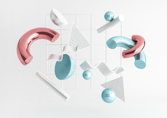 3d render realistic primitives composition. Flying shapes in motion isolated on white background. Abstract theme for trendy designs. Spheres, torus, tubes, cones in metallic blue and pink colors.