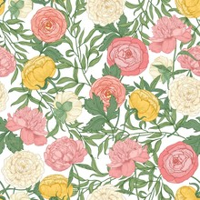 Botanical Seamless Pattern With Gorgeous Blooming Tulips, Peonies And Ranunculus Flowers On White Background. Floral Realistic Vector Illustration In Vintage Style For Textile Print, Wallpaper.