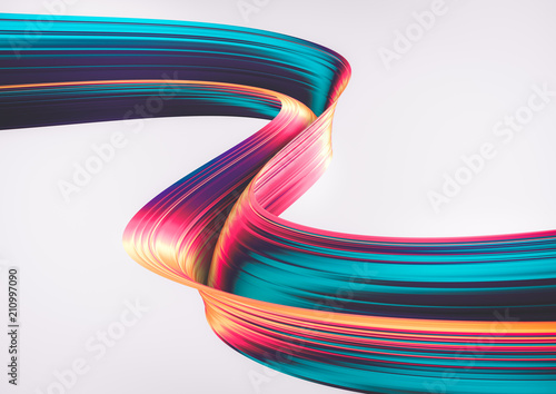 In de dag Abstract wave 3D render abstract background. Colorful 90s style twisted shapes in motion. Iridescent digital art for print or web poster, banner, design element. Holographic foil ribbon with ribbed texture.