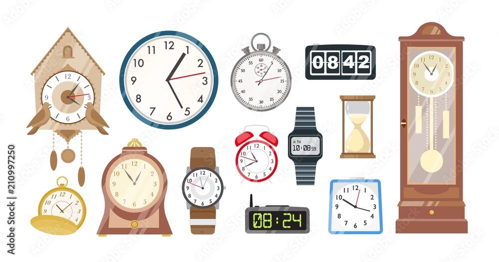 Kolekcja zegary mechaniczne i elektroniczne, zegarki i klepsydra na białym tle. Zestaw urządzeń do pomiaru czasu wskazania. Ilustracja wektorowa kolorowy w stylu cartoon płaski.