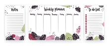 Weekly Planner With Weekdays, Page For Notes And To Do List Templates Decorated With Abstract Brush Strokes And Exotic Monstera Leaves. Modern Scheduler, Bullet Journal. Vector Illustration.