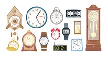 Collection Of Mechanical And Electronic Clocks, Watches And Hourglass Isolated On White Background. Set Of Devices To To Measure Indicate Time. Colorful Vector Illustration In Flat Cartoon Style.