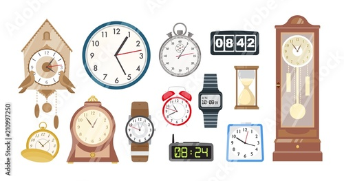Fototapeta Collection of mechanical and electronic clocks, watches and hourglass isolated on white background. Set of devices to to measure indicate time. Colorful vector illustration in flat cartoon style. obraz