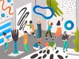 Artyści i rzeźbiarze malujący i rzeźbiący w rezydencji artystycznej lub miejscu dla kreatywnych ludzi. Mężczyźni i kobiety tworzący współczesne dzieła sztuki. Ilustracja nowoczesny kolorowy wektor w stylu cartoon płaski. - 210997463