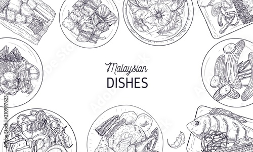 Fotografía  Horizontal banner template with frame made of tasty meals of Malaysian cuisine or spicy Asian dishes hand drawn with contour lines on white background