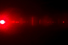 Camera Lens Flare By Laser Light Create Circles Of Objective And Interference Effect And Moire On Digital Sensor On Dark Black Background