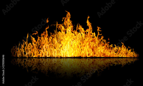 Fotobehang Vuur long bright yellow flame isolated with reflection on black