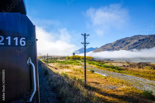 Deurstickers Oceanië Train in Mountain fields landscape, New Zealand