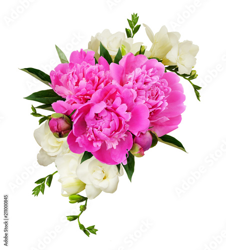 White freesia flowers and pink peonies in a beautiful composition