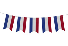 Netherlands National Flag Festive Bunting Against A Plain White Background. 3D Rendering