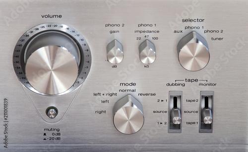 Vintage Stereo Amplifier Shiny Metal Volume Control Knob