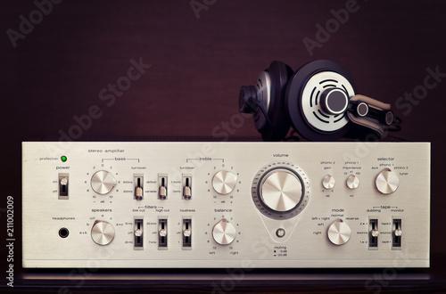 Fotografija Vintage Audio Stereo Amplifier with Headphones