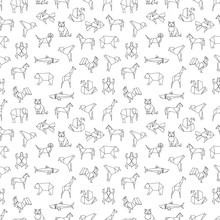 Line Animals, Bird And Fishes Seamless Pattern