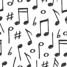 Hand Drawn Music Notes Seamles...