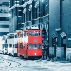 Retro tramway on the evening street.