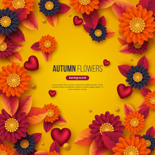 Floral Autumn Background With 3d Paper Cut Style Flowers, Leaves And Decorative Hearts. Yellow, Orange, Purple Colors. Vector Illustration.