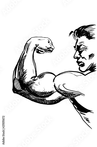 Muscle Icon Bodybuilder Sketch Isolated On Whitevector Tattoo