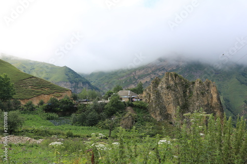 Tuinposter Wit The mountain landscape is shot in the highland village of Laza