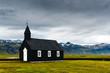 Leinwandbild Motiv Black wooden church Budakirkja at Snaefellsnes, western Iceland, Europe.