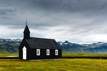 Black Wooden Church Budakirkja At Snaefellsnes, Western Iceland, Europe.
