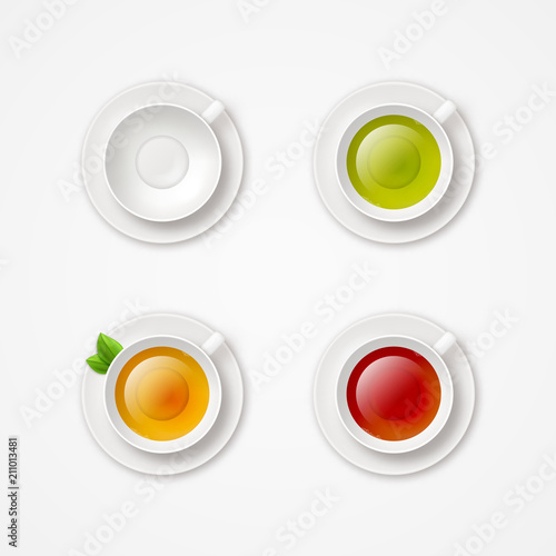 cup of fresh tea top view realistic vector icon set black green