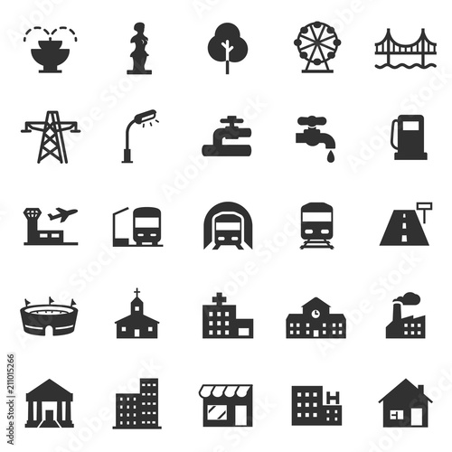 infrastructure and city elements, monochrome icons set.