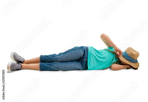 Fotografie, Obraz  Little girl lying on her side on the ground