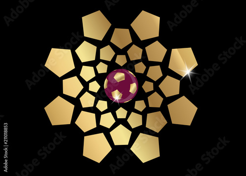 Fotografia  gold football soccer concept icon, vector abstract banner for QATAR template bac