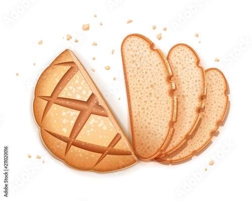 Fotografie, Obraz Rye round dark bread. Realistic loaf. Baking healthy food. Flour
