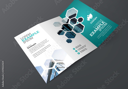 blue trifold brochure layout with hexagons buy this stock template