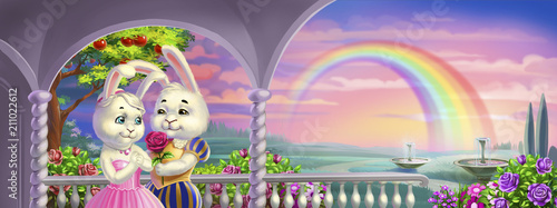 Poster Rose clair / pale rabbit prince and princess, on sunset background