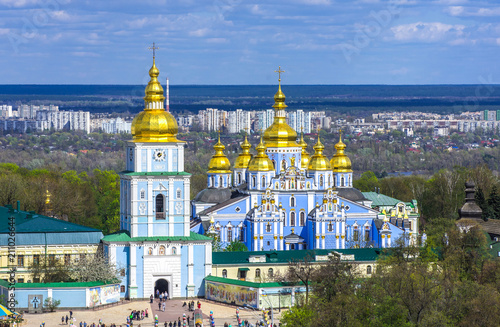 Spoed Foto op Canvas Kiev Kiev, Ukraine. Cupolas of St. Michael's Golden-Domed Monastery