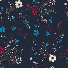 Flower Seamless Pattern. Field Herbs Daisy Textile Print Decoration Dark Blue Background. Cute Floral Pattern In The Small Flower. Motifs Scattered Random.  Elegant Template For Fashion Prints.