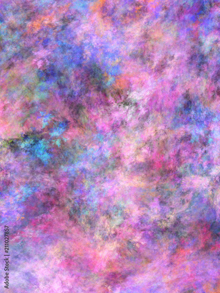 Fototapeta Abstract painted texture. Chaotic blue, green and violet strokes. Fractal background. Fantasy digital art. 3D rendering.