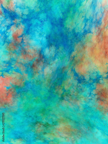 Abstract Painted Texture Chaotic Blue Green And Brown