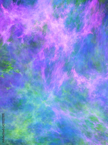 Poster Rose Abstract painted texture. Chaotic blue, green and violet strokes. Fractal background. Fantasy digital art. 3D rendering.