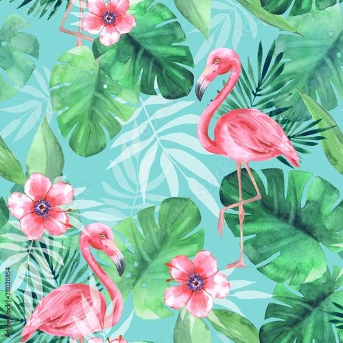 bezszwowy-tropikalny-wzor-z-rozowymi-flamingami-akwarela-ilustracja-3