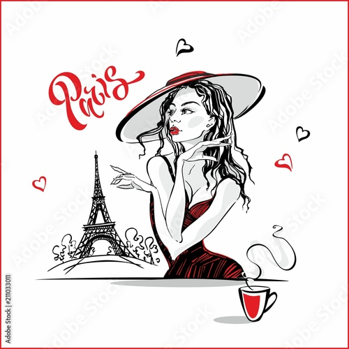 In de dag Illustratie Parijs The girl in the hat drinking coffee. Fashion model in Paris. Eiffel tower. Romantic composition. Elegant model on vacation. Tourism industry. Vector.