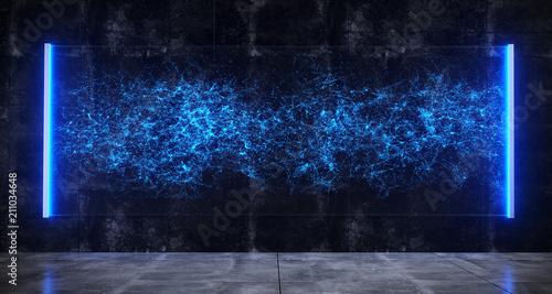 Fotografiet  Futuristic Sci-Fi Room With Hologram Blue Lighted Bright Glass With Plexus Hologram