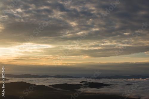 In de dag Ochtendgloren Sunrise over the Great Smoky Mountains National Park